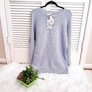 Pink Rose Ribbed Gray Striped Sweater Crew S
